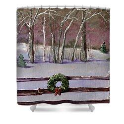 Christmas Wreath On Fence  Shower Curtain