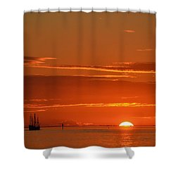 Christopher Columbus Replica Wooden Sailing Ship Nina Sails Off Into The Sunset Shower Curtain by Jeff at JSJ Photography