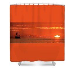 Christopher Columbus Sailing Ship Nina Sails Off Into The Sunset Panoramic Shower Curtain