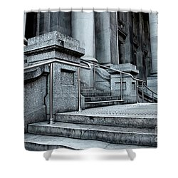 Shower Curtain featuring the photograph Chrome Balustrade by Stephen Mitchell