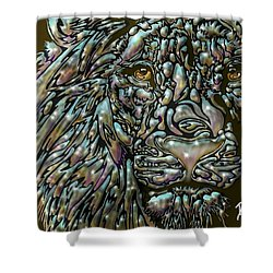Shower Curtain featuring the digital art Chrome Lion by Darren Cannell