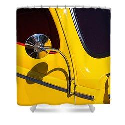 Chrome Mirrored To Yellow Shower Curtain
