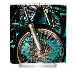 Chrome Rim And Front Fork Of Vintage Style Motorcycle Shower Curtain