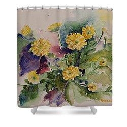 Chrysanthemum Flowers Still Life In Watercolor Shower Curtain by Geeta Biswas