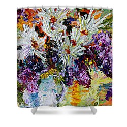 Chrysanthemums And Lilacs Still Life Shower Curtain by Ginette Callaway