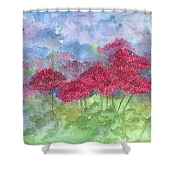 Shower Curtain featuring the painting Chrysanthemums by Cathie Richardson