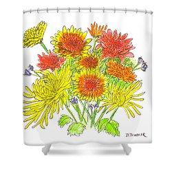 Chrysanthemums Shower Curtain by Deborah Dendler