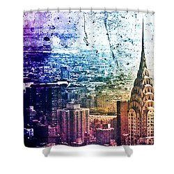 Chrysler Building - Colorful - New York City Shower Curtain by Vivienne Gucwa