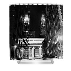 Shower Curtain featuring the photograph Chrysler Night Library by Dave Beckerman