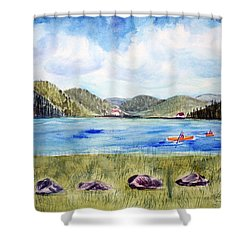 Shower Curtain featuring the painting Chrystal Lake  Barton Vt  by Donna Walsh