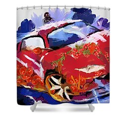 Chubby Car Red Shower Curtain by Catherine Lott