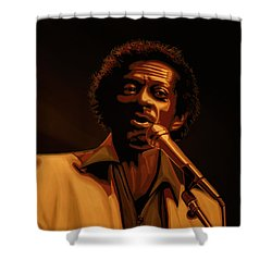 Chuck Berry Gold Shower Curtain by Paul Meijering