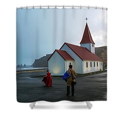 Shower Curtain featuring the photograph Church Above Reynisfjara Black Sand Beach, Iceland by Dubi Roman