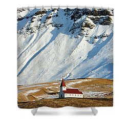 Shower Curtain featuring the photograph Church And Mountains In Winter Vik Iceland by Matthias Hauser