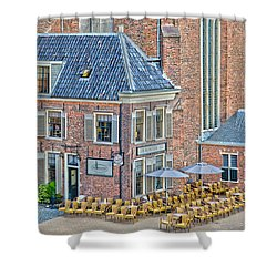 Shower Curtain featuring the photograph Church Cafe In Groningen by Frans Blok