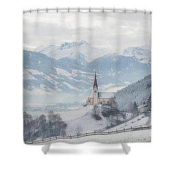 Church In Alpine Zillertal Valley In Winter Shower Curtain