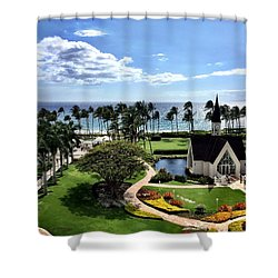 Church In Paradise Shower Curtain by Michael Albright