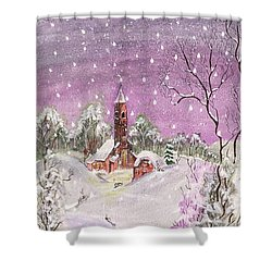 Shower Curtain featuring the digital art Church In The Snow by Darren Cannell