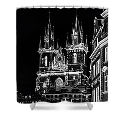 Shower Curtain featuring the photograph Church Of Our Lady Before Tyn. Night Prague by Jenny Rainbow