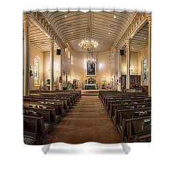 Shower Curtain featuring the photograph Church Of The Assumption Of The Blessed Virgin Pano 2 by Andy Crawford