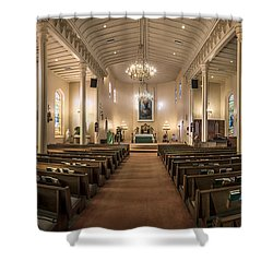 Shower Curtain featuring the photograph Church Of The Assumption Of The Blessed Virgin Pano by Andy Crawford