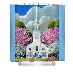 Church Of The Dogwoods Shower Curtain by John Deecken