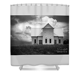 Church On Hill In Bw Shower Curtain