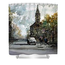 Church On The Hill Shower Curtain by Ryan Radke