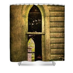 Church Window Church Bell Shower Curtain by Lois Bryan