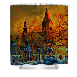 Shower Curtain featuring the painting Church Winter Sunset by Henryk Gorecki