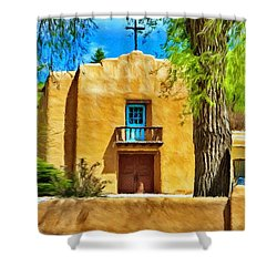 Church With Blue Door Shower Curtain by Jeff Kolker
