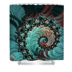 Shower Curtain featuring the digital art Churning Sea Fractal by Bonnie Bruno