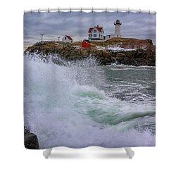 Churning Seas At Cape Neddick Shower Curtain by Rick Berk