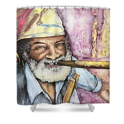 Cigars And Cuba Shower Curtain by Victor Minca
