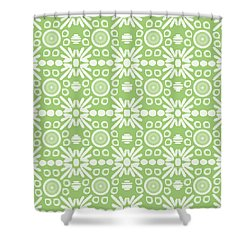 Cilantro- Green And White Art By Linda Woods Shower Curtain