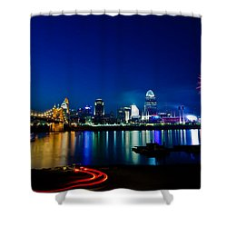 Cincinnati Boom Shower Curtain by Keith Allen