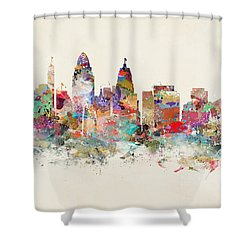 Cincinnati City Skyline Shower Curtain
