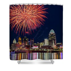 Cincinnati Fireworks Shower Curtain by Scott Meyer
