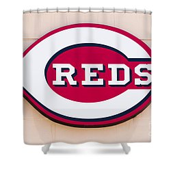 Cincinnati Reds Logo Sign Shower Curtain by Paul Velgos