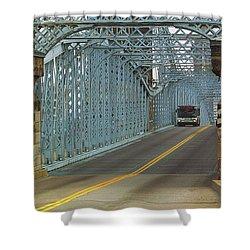 Cincinnati - Roebling Bridge 1 Shower Curtain by Frank Romeo
