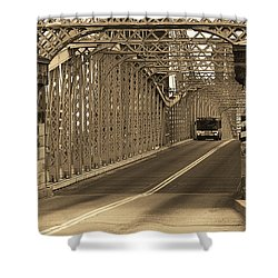 Cincinnati - Roebling Bridge 1 Sepia Shower Curtain by Frank Romeo