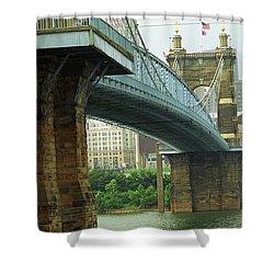 Cincinnati - Roebling Bridge 2 Shower Curtain by Frank Romeo