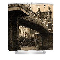 Cincinnati - Roebling Bridge 2 Sepia Shower Curtain by Frank Romeo