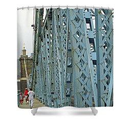 Cincinnati - Roebling Bridge 3 Shower Curtain by Frank Romeo
