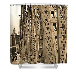 Cincinnati - Roebling Bridge 3 Sepia Shower Curtain by Frank Romeo