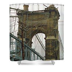 Cincinnati - Roebling Bridge 4 Shower Curtain by Frank Romeo