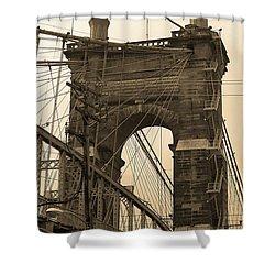 Cincinnati - Roebling Bridge 4 Sepia Shower Curtain by Frank Romeo