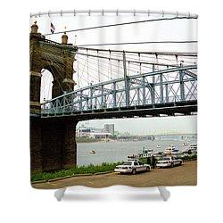 Cincinnati - Roebling Bridge 5 Shower Curtain by Frank Romeo