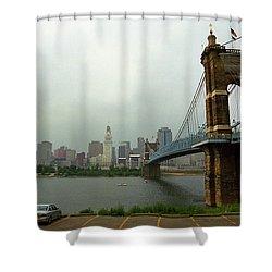 Cincinnati - Roebling Bridge 6 Shower Curtain by Frank Romeo