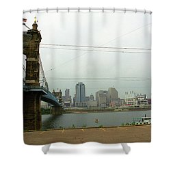 Cincinnati - Roebling Bridge 7 Shower Curtain by Frank Romeo